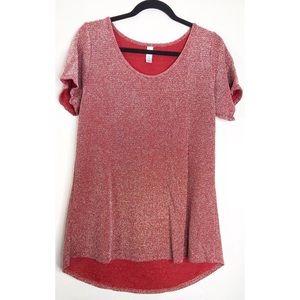 Red sparkle lularoe short sleeve blouse M